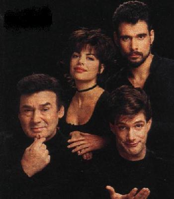 "Billie (Lisa Rinna), Bo (Robert Kelker-Kelly), Stefano (Joseph Mascolo) and Peter (Jason Brooks)--One of Lisa's first storylines as Billie was ""Who Killed ..."